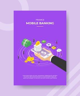 Финансы мобильный банкинг рука держать смартфон банк здание на экране деньги люди
