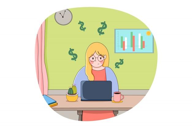 Finance, money, business, freelance, earning concept
