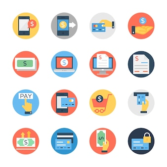Finance and money flat rounded icon pack