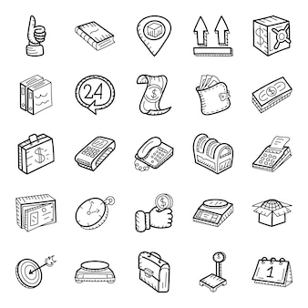 Finance and parcel delivery hand drawn icons pack