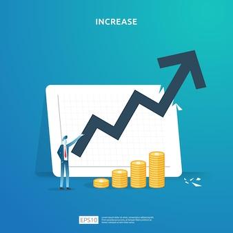 재무 성과 개념. 성장 화살표와 사람들의 성격과 함께 사업 이익 증가. 소득 급여 비율은 달러 기호로 마진 수익을 증가시킵니다. 투자 수익 roi 그림