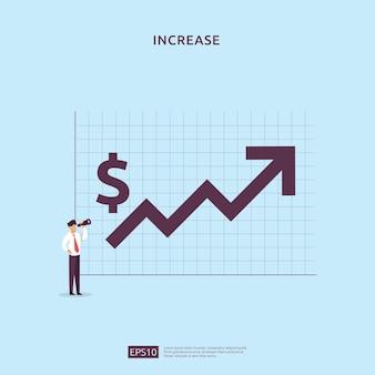 Концепция эффективности финансов. увеличение прибыли бизнеса с ростом стрелки вверх и характером людей. доход заработная плата растет маржинальный доход с символом доллара. возврат инвестиций roi векторные иллюстрации