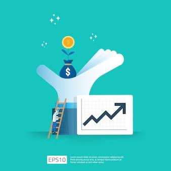 화살표와 투자 수익 roi 개념의 재무 성과. 소득 급여 인상.