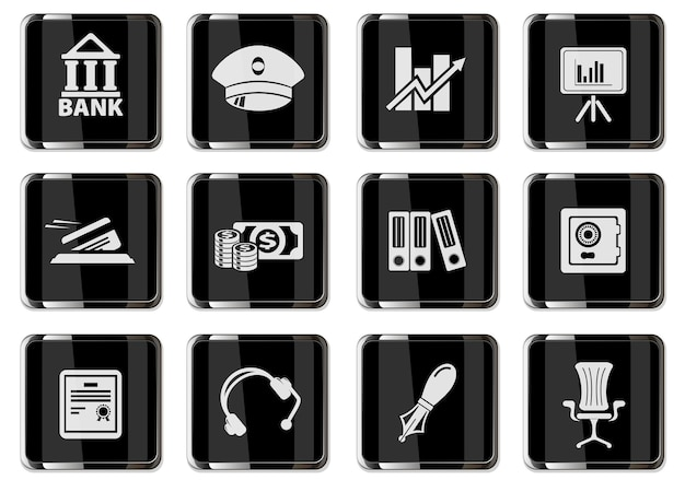 黒のクロームボタンでピクトグラムをファイナンスします。あなたのデザインに設定されたアイコン。ベクトルアイコン