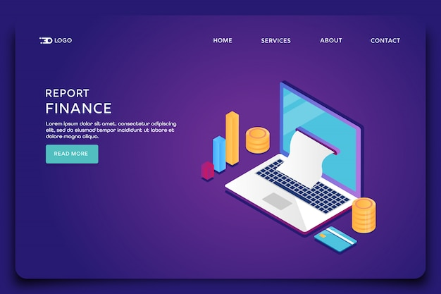 Finance report landing page template
