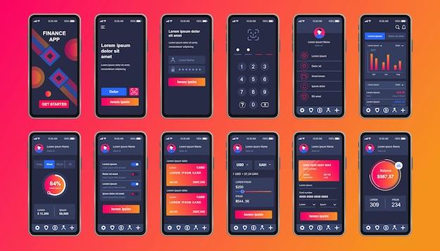 金融サービスのモバイルアプリ用のユニークなデザインキット。財務分析と手段を備えたオンラインバンキング画面。資金管理と管理ui、uxテンプレート。レスポンシブモバイルアプリケーションのgui
