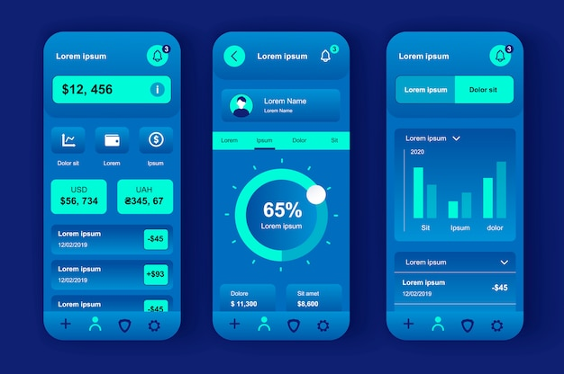 Finance services unique neomorphic  kit for mobile app. credit card balance, checking account, transaction confirmation. online banking ui, ux template set. gui for responsive mobile application