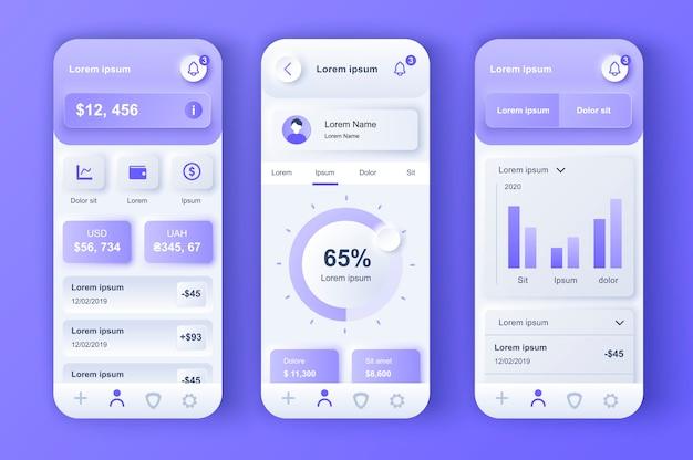 金融サービスは、モバイルアプリ用のユニークなニューモルフィックデザインキットです。