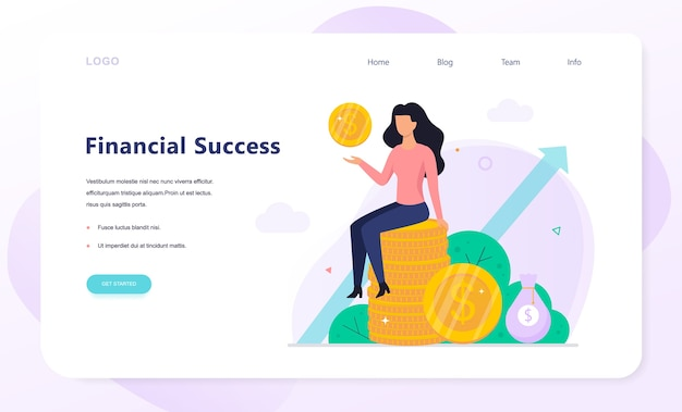 Finance success concept web banner . building capital