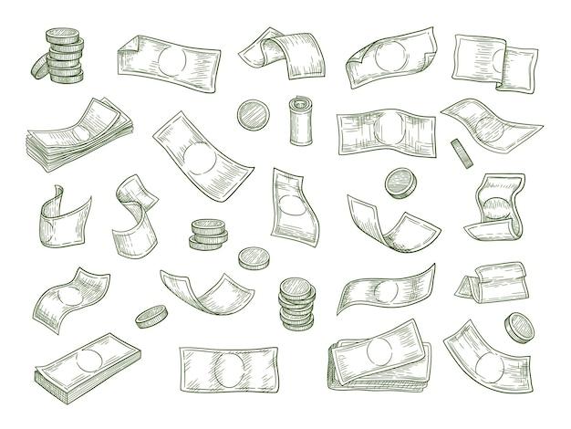 Финансовые символы. экономика инвестиций деньги монеты капитал рисованной набор. финансовые инвестиционные деньги, монеты и наличные иллюстрации