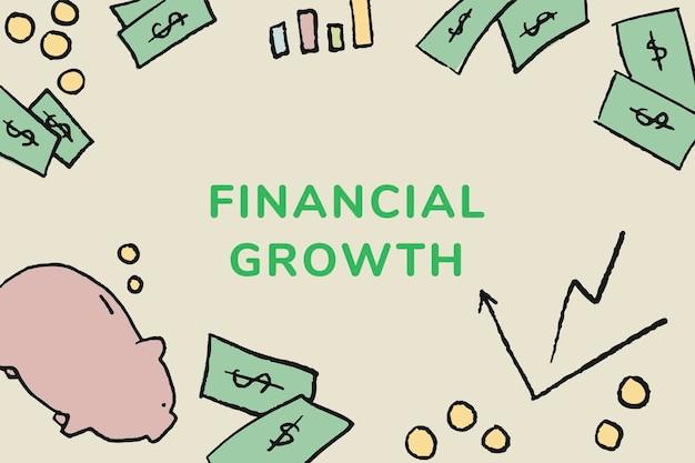 財務成長テキストを含む財務テンプレートベクトル
