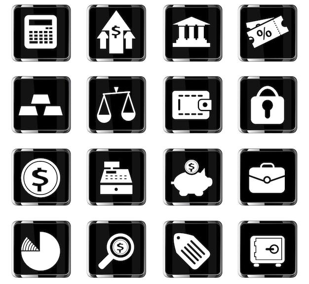 Финансовые векторные иконки для дизайна пользовательского интерфейса