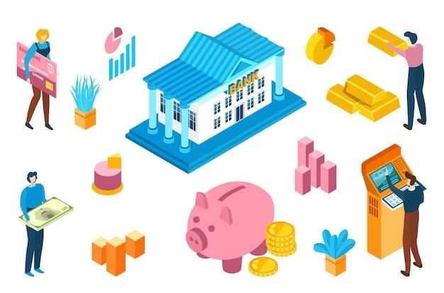 Финансовая система мирового банка, современный дизайн иконок денежного потока