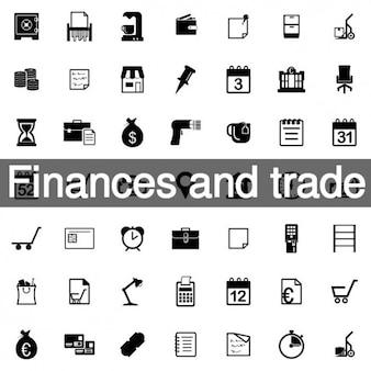 財政と貿易のアイコンセット