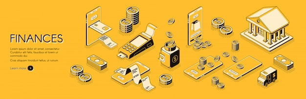 Finances isometric horizontal web banner