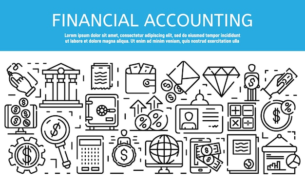 Financial accountant job banner, outline style