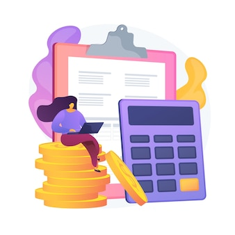 財務会計。財務報告を行う女性会計士の漫画のキャラクター。要約、分析、レポート。財務諸表、収入およびバランス。ベクトル分離概念比喩イラスト