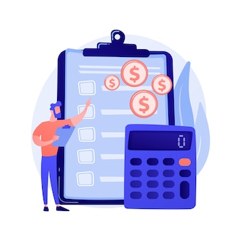 재무 회계. 재무 보고서를 만드는 여성 회계사 만화 캐릭터. 요약, 분석,보고. 재무 제표, 수입 및 잔액.