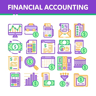 Financial accounting icons collection