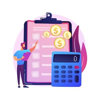 財務会計。財務報告を行う男性会計士の漫画のキャラクター。要約、分析、レポート。財務諸表、収入および残高