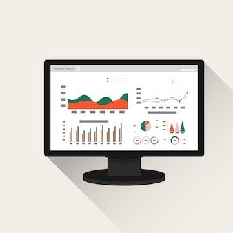Концепция отчета финансового учета на экране компьютера.