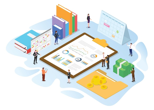 Financial administration concept with modern isometric or 3d style vector illustration