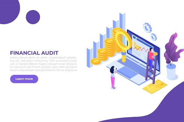 Financial administration examiner audit  concept with characters company tax and account