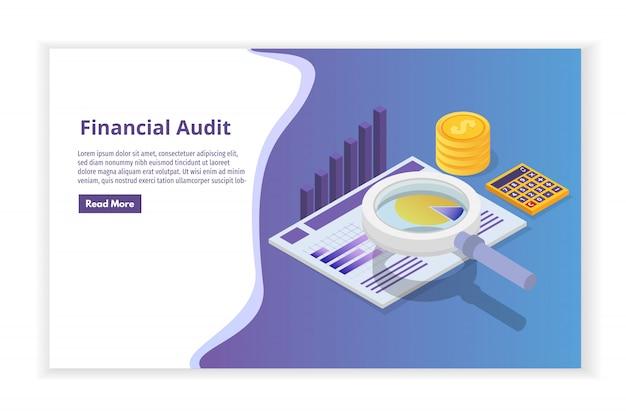 Финансовое управление, экзаменатор, аудит изометрической концепции с символами. налог и учет компании.