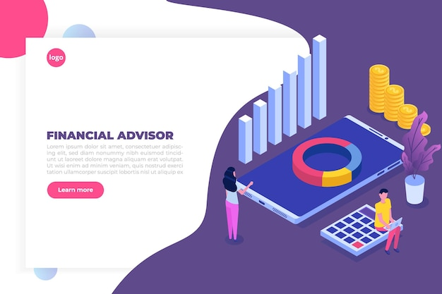 Financial advisor or administration isometric concept with characters. hero images.