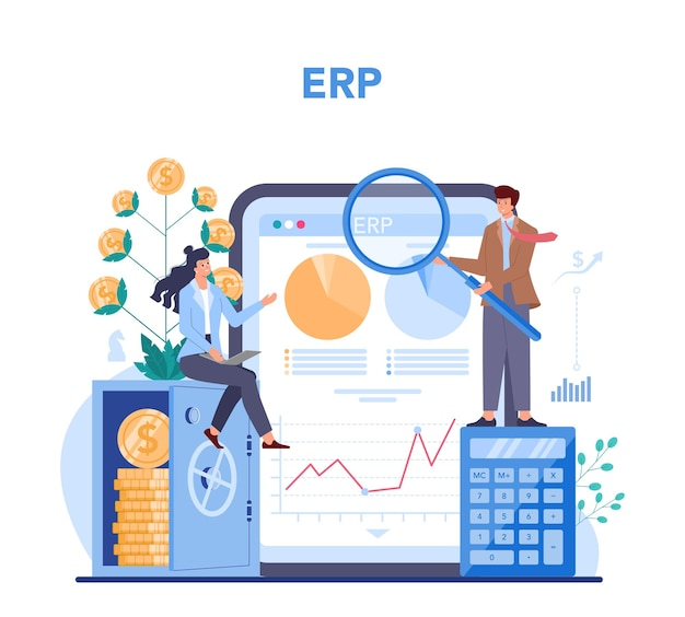 Financial advisor or financier online service or platform. business character making banking operations and control. online erp.