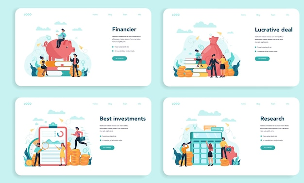 Financial advisor or financier web banner or landing page set.