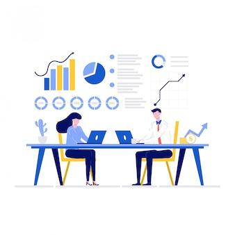 Концепция иллюстрации финансового консультанта с персонажами. деловые люди вместе анализируют данные.