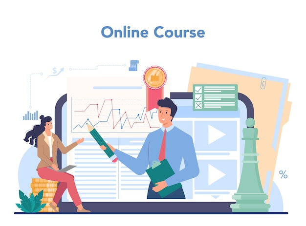 Financial advisor online service or platform. business character consulting of financial operation. online course. isolated flat