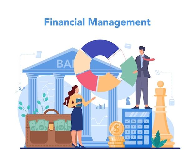 Финансовый консультант или концепция финансиста. деловой характер, совершающий банковские операции и контроль. финансовое управление.