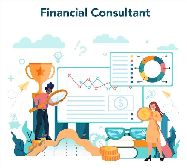 Финансовый консультант или иллюстрация концепции финансиста
