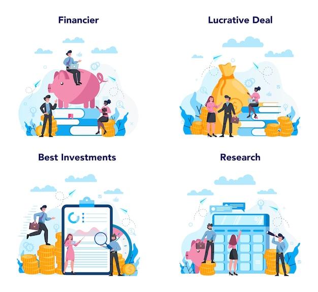 Набор концепции финансового консультанта или финансиста. деловой персонаж, совершающий финансовую операцию. калькулятор, инвестиции, исследования и договор.