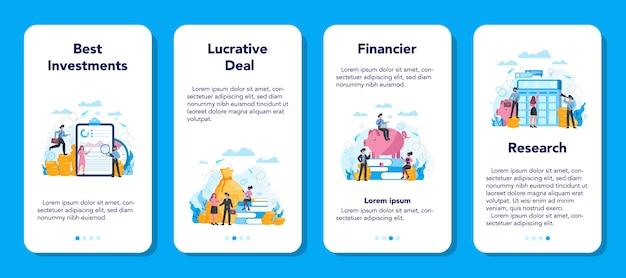 Набор баннеров для мобильных приложений финансового консультанта или финансиста. деловой персонаж, совершающий финансовую операцию. калькулятор, инвестиции, исследования и договор.