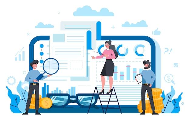 Платформа финансового консультанта или финансиста на разных концепциях устройства. деловой персонаж, совершающий финансовую операцию. калькулятор, инвестиции, исследования и договор. изолированные плоские векторные иллюстрации