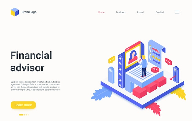 Financial advisor service isometric landing page expert consulting working on charts