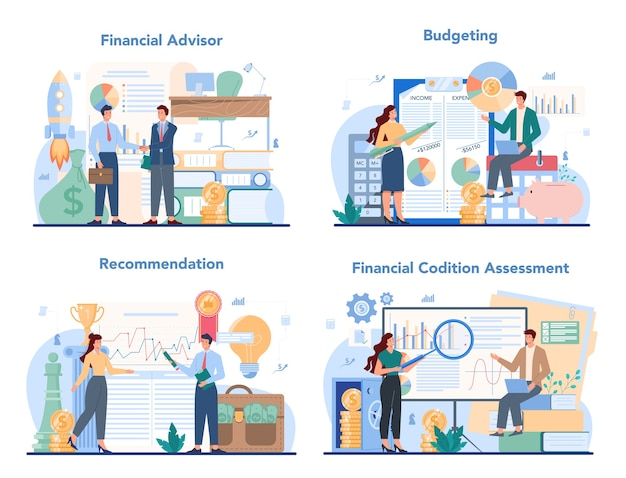 Financial advisor set illustration