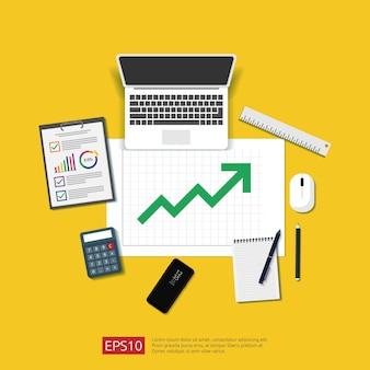 財務分析ビジネス、財務統計、管理の概念。グラフバードキュメント、ラップトップ、レポートを育てると職場のデスクトップビュー。フラットスタイルのイラスト。