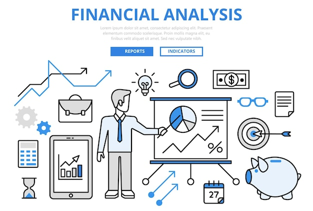 Financial analysis business report finance graphic concept flat line art  icons.
