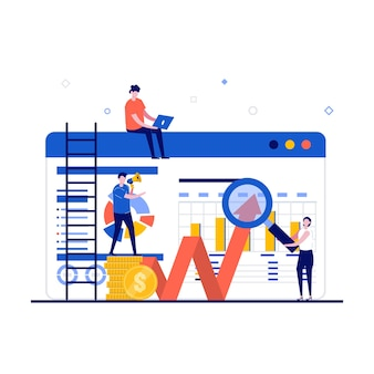 性格のある財務分析の概念。拡大鏡でウェブサイトの近くに立っている人々。