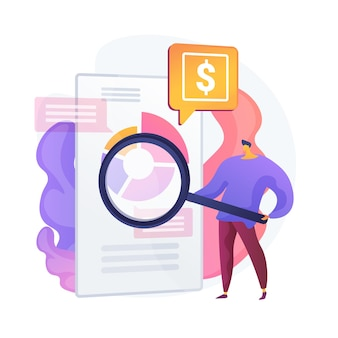 Financial analysis. man cartoon character with magnifying glass analyzing circular diagram with colorful segments. assessment, audit, research. vector isolated concept metaphor illustration