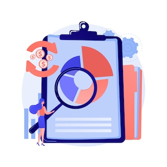 Financial analysis. man cartoon character with magnifying glass analyzing circular diagram with colorful segments. assessment, audit, research.