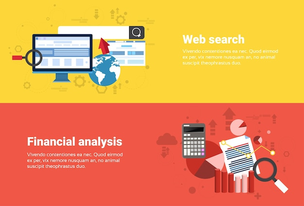 Financial analysis, web search digital content information technology business web banner flat vecto