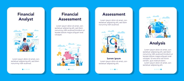 Financial analyst or consultant mobile application banner set.