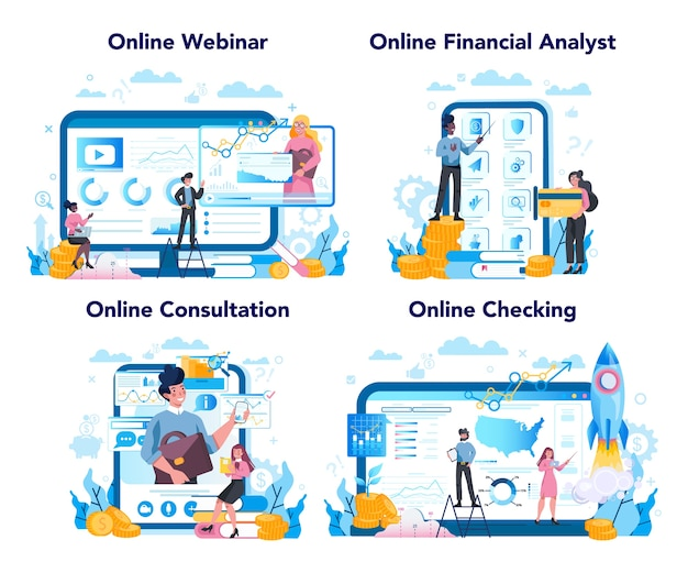 Financial analyst or consultant online service or platform set. business