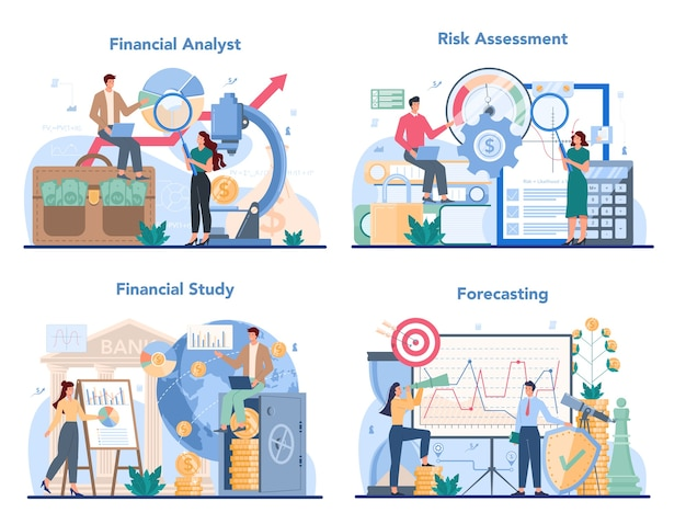 Financial analyst or consultant set illustration