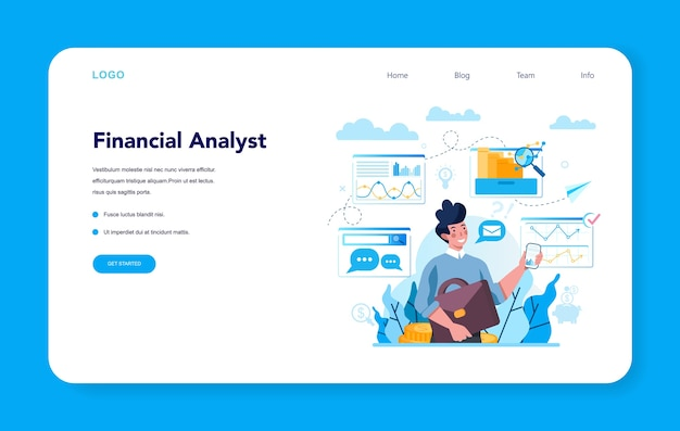Financial analyst or consultant web banner or landing page